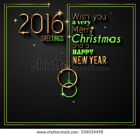 2016 Happy New Year and Merry Christmas Background for your seasonal wallpapers, greetings card, dinner invitations, pary flyers, covers and so on. - stock vector