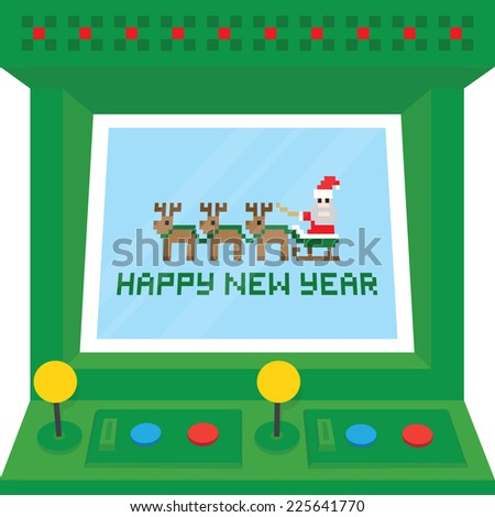 """Happy new year"" arcade machine vector card - stock vector"