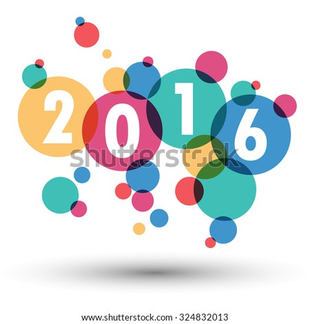 2016 Happy New Year background.colour bubble.vector
