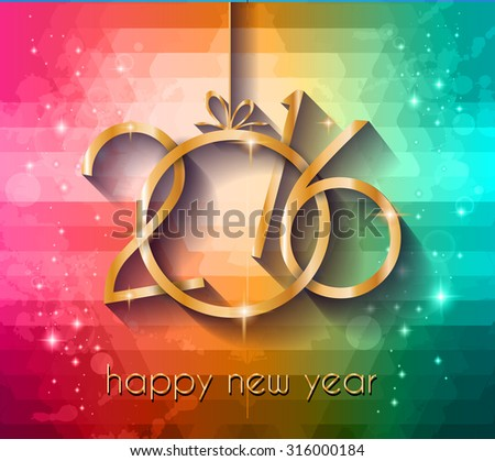 2016 Happy New Year Background for your Christmas dinner invitations, festive posters, restaurant menu cover, book cover, Elegant greetings cards and so on. - stock vector
