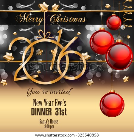 2016 Happy New Year Background for your Christmas Flyers, dinner invitations, festive posters, restaurant menu cover, book cover,promotional depliant, Elegant greetings cards and so on. - stock vector