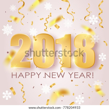 2018 happy new year background gold numbers with falling shiny confetti snowflakes vector illustration