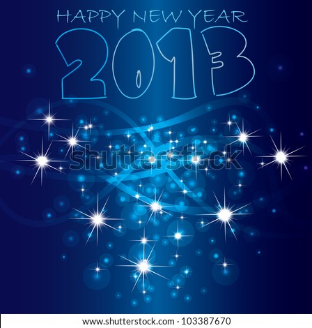 2013 Happy New Year background. Vector - stock vector