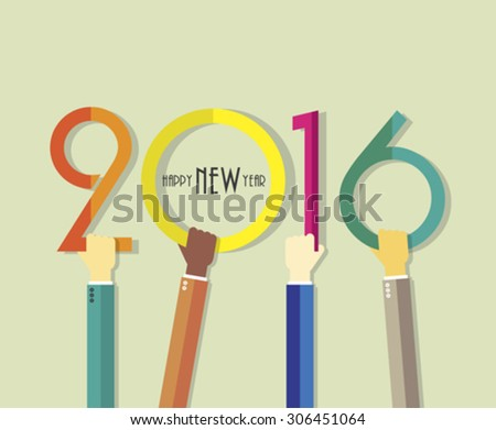2016 Happy New Year background with hands for your greetings card, flyers, invitation, posters, brochure, banners, business - stock vector