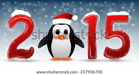 2015 Happy New Year background with penguin. Vector illustration  - stock vector