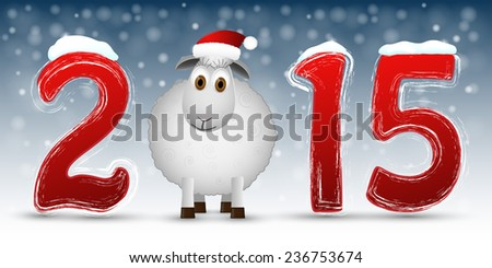 2015 Happy New Year background with sheep. Vector illustration - stock vector
