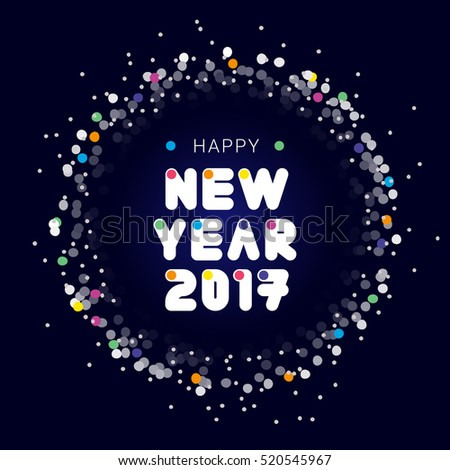2017 Happy New Year card, background, decoration. Illustration, vector, banner template for flat design. Postcard with decorative font, frame, confetti. Dark blue background color.