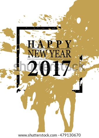 2017 Happy New Year card or background. Trendy style with black, white, gold colors. Vector illustration