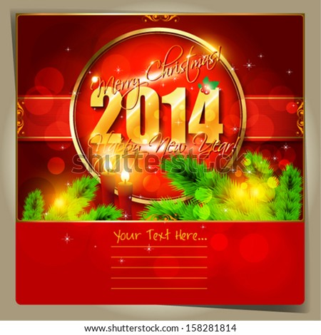 2014 Happy New Year  card or background with  snowflakes, tree, stars and candles.  Vector art.