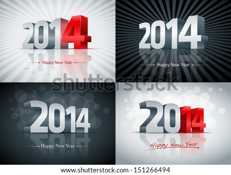 2014 Happy New Year card set. All elements are layered separately. Easy editable. - stock vector
