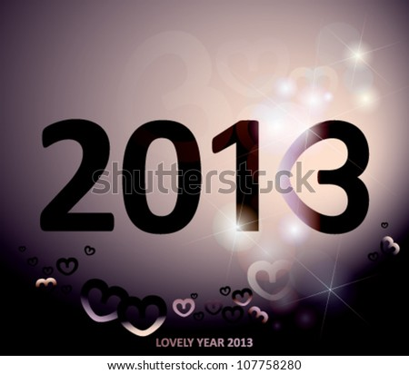 2013 / Happy new year card with number three like heart