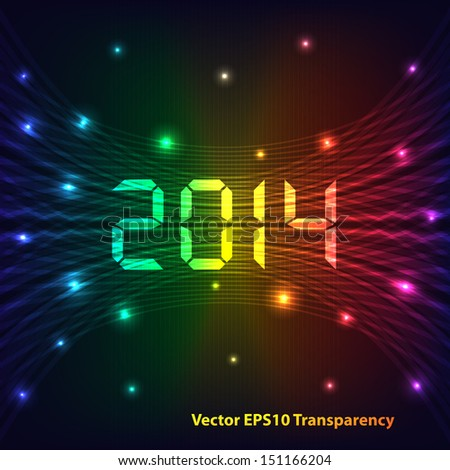 2014 Happy new year celebration background with neon lights style 2014 text. Glowing lights on dark background.  Raster version also available.
