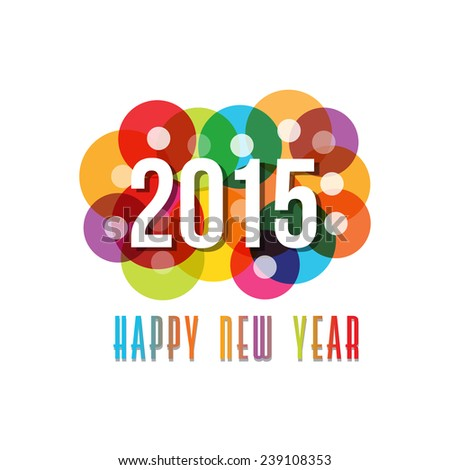 2015 Happy New Year circles background.Vector design
