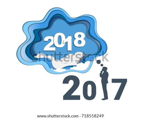 2018 Happy New Year Concept Symbols Stock Vector 718558249