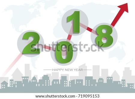 2018 Happy New Year Concept Symbols Stock Vector 719095153