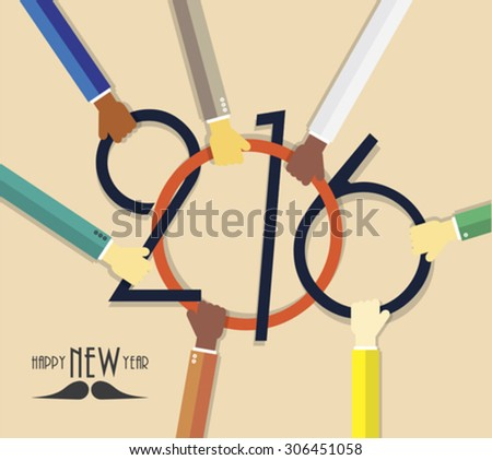 2016 Happy New Year creative background with hands for your greetings card, flyers, invitation, business, posters, brochure, banners, cover, promotion - stock vector