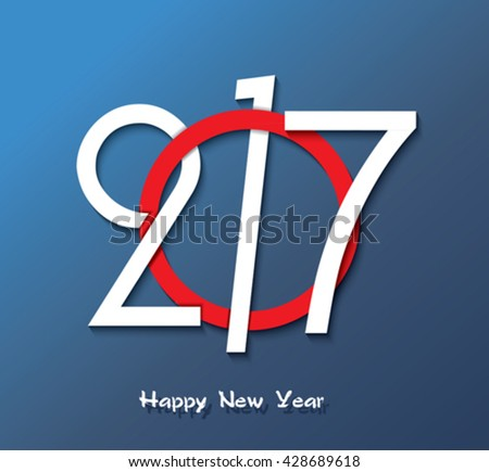 2017 Happy new year creative greeting card design, can be used for flyers, invitation, posters, brochure, banners, calendar.