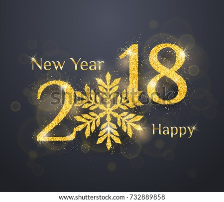 2018 Happy New Year greeting card background with golden glitter numbers on dark background. Vector holiday banner