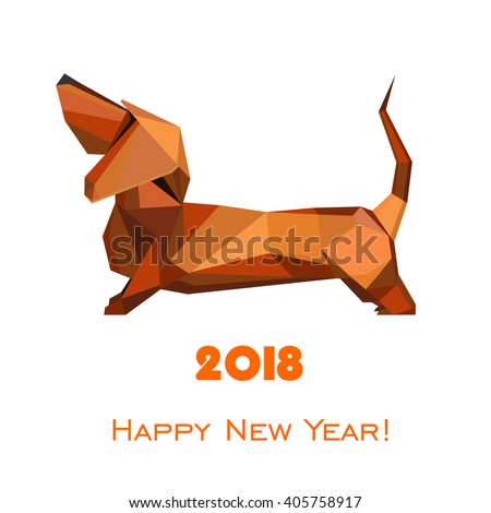 2018 Happy New Year greeting card. Celebration background with dog and place for your text. 2017 Chinese New Year of the dog. Vector Illustration