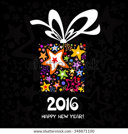 2015 Happy New Year greeting card.  Celebration black background with gift box and place for your text.   Vector illustration - stock vector