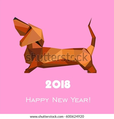 2018 Happy New Year greeting card. Celebration pink background with dog and place for your text. Vector Illustration