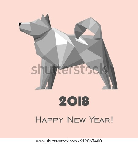2018 Happy New Year greeting card. Celebration pink background with dog and place for your text. 2018 Chinese New Year of the dog. Vector Illustration