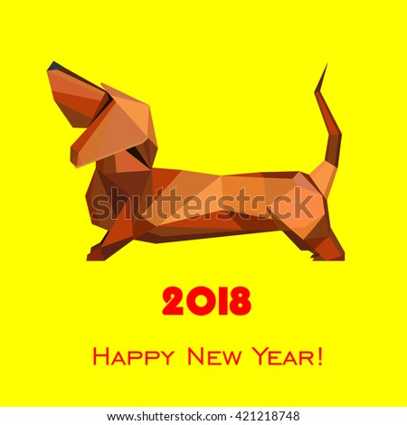2018 Happy New Year greeting card. Celebration yellow background with dog and place for your text. Vector Illustration