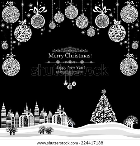 2015 Happy New Year greeting card. Christmas card. Celebration background with Christmas Landscape, Christmas tree, balls and place for your text. Vector Illustration  - stock vector