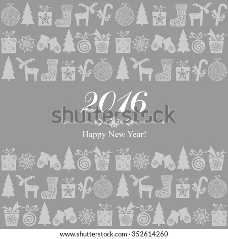 2016 Happy New Year greeting card isolated on grey background. Celebration background with Christmas tree, gift boxes and place for your text. Vector Illustration - stock vector