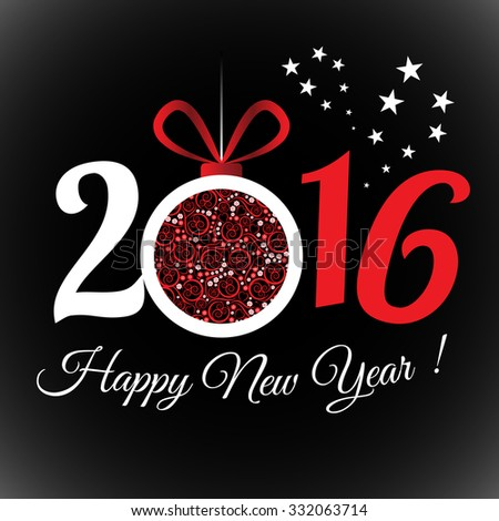 2016 Happy New Year greeting card or background.