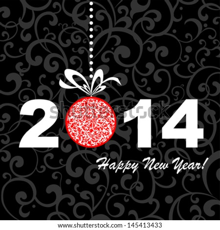 2014 Happy New Year greeting card or background. Vector illustration