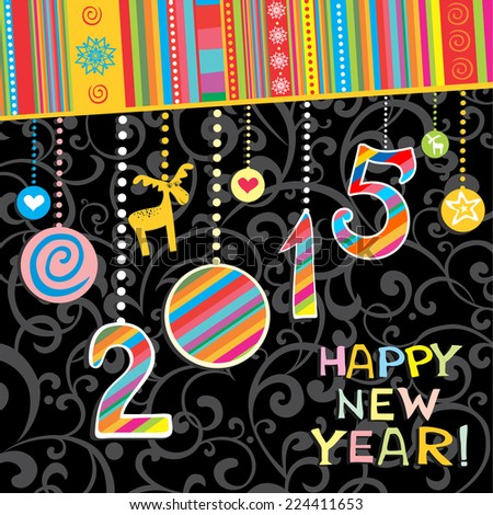2015 Happy New Year greeting card or background. Vector illustration