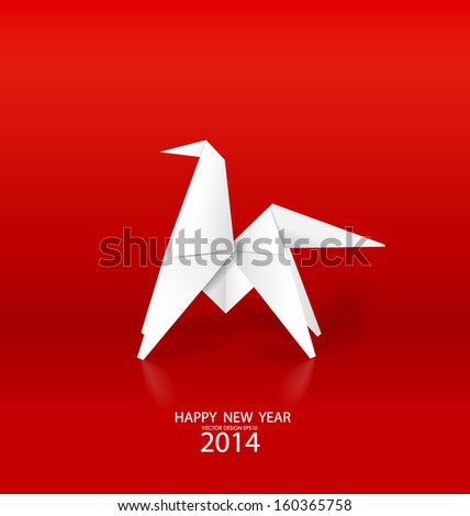 2014 Happy New Year greeting card, origami paper horse design. Vector illustration. - stock vector