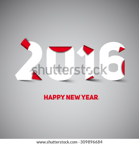 2016 Happy New year greeting card, paper cut or origami style, vector illustration - stock vector