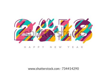 2018 Happy New Year greeting card with abstract colorful numbers and dog paw print. Vector illustration. Brochure design template, business diary cover, 2018 Chinese New Year wishes