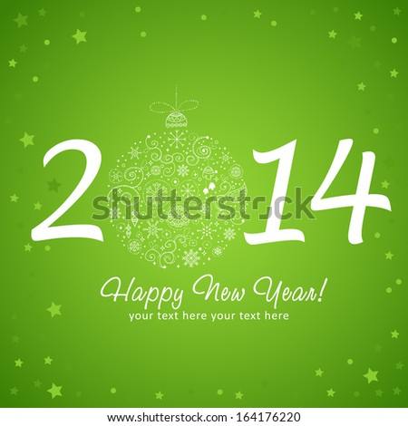 2014 Happy New Year greeting card with stylized design Christmas tree toy ball made of stars and snowflakes - stock vector