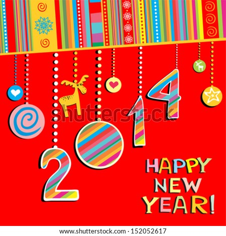 2014 Happy New Year greeting  red card or background. Vector illustration