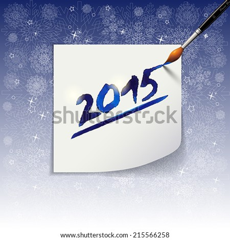 2015 Happy New Year hand lettering  on blue background. Vector illustration. - stock vector