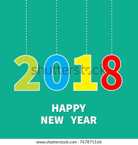 2018 happy new year hanging text stock vector 767871166 - shutterstock, Presentation templates