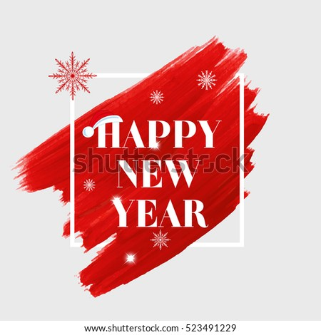 Happy New Year Holiday Sign Text Over Abstract Red Brush Paint Background Vector Illustration