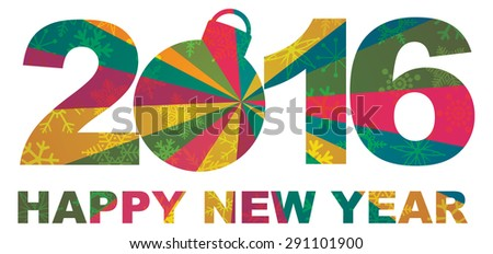 2016 Happy New Year Numbers and Text Silhouette Ornament with Snowflakes Texture Pattern Background Vector Illustration
