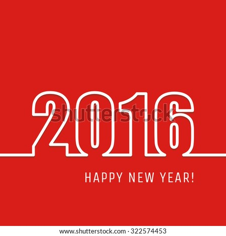 2016 Happy New Year outline greeting card or background. Vector illustration.