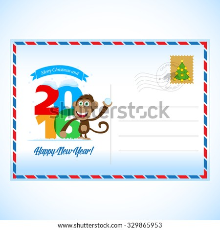 2016 Happy New Year Postcard with monkey. Happy New Year and Merry Christmas 2016 colorful symbol. 2016 design typography vector illustration. Overlapping digits design with shadows. Postcard design.