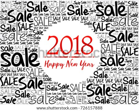 2018 Happy New Year Sale Word Stock Vector 726157888 - Shutterstock