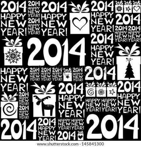 2014 Happy New Year! Seamless black pattern. Vector illustration