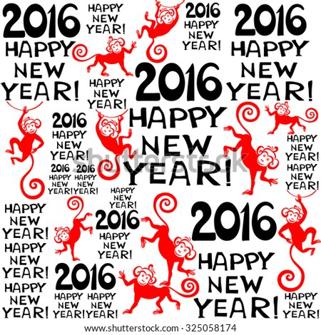 2016 Happy New Year! Seamless pattern background with monkeys. Symbol of 2016 year. Vector Illustration - stock vector