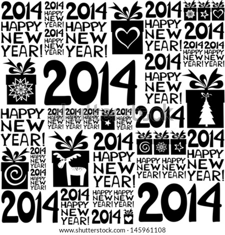 2014 Happy New Year! Seamless pattern. Vector illustration