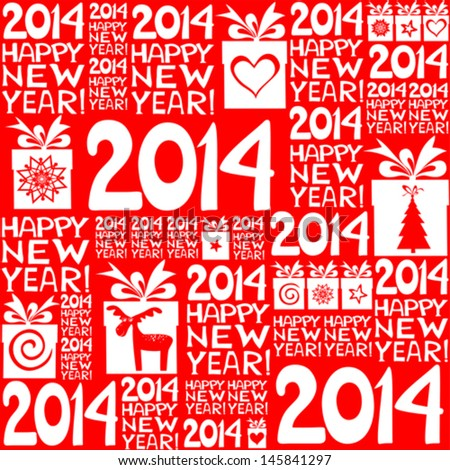 2014 Happy New Year! Seamless red pattern. Vector illustration