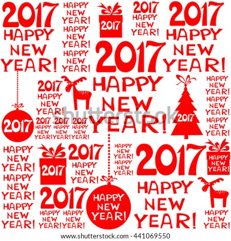 2017 Happy New Year! Seamless red pattern. vector illustration