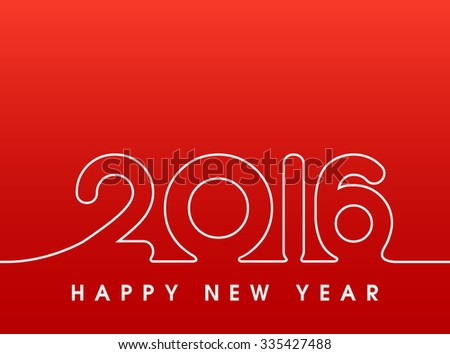 2016 Happy New Year sewing style in red - stock vector
